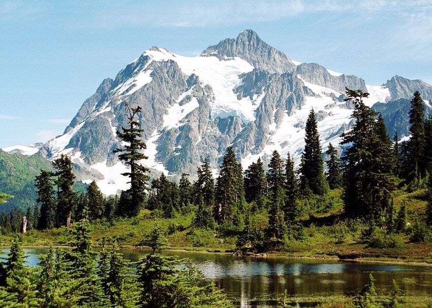 Mount Shuksan Shuksan Picture Lake . Mountain Landscape Nature Snow Outdoors No People Wilderness Forest Hstimko Pacific Northwest