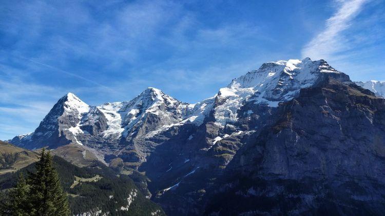 Mountains Eiger Moench Jungfrau Landscape Amazing Places #muerren #jungfrauregion #interlaken