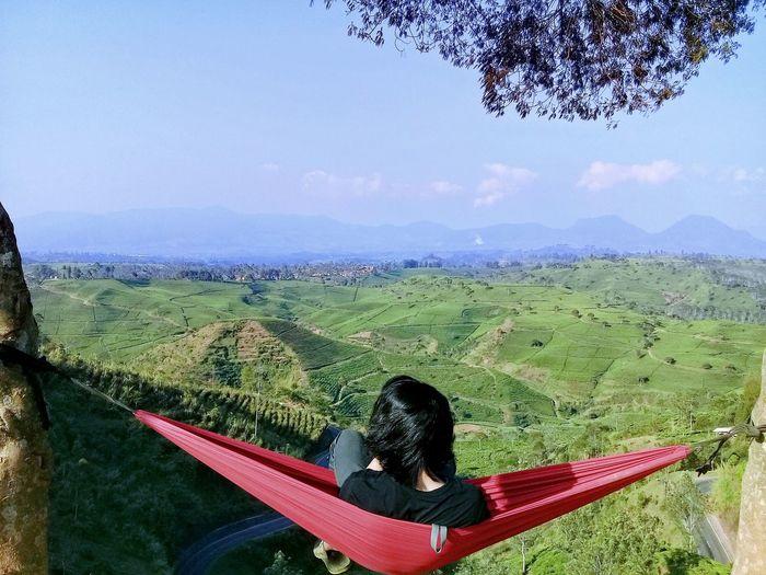 Man relaxing in hammock over landscape
