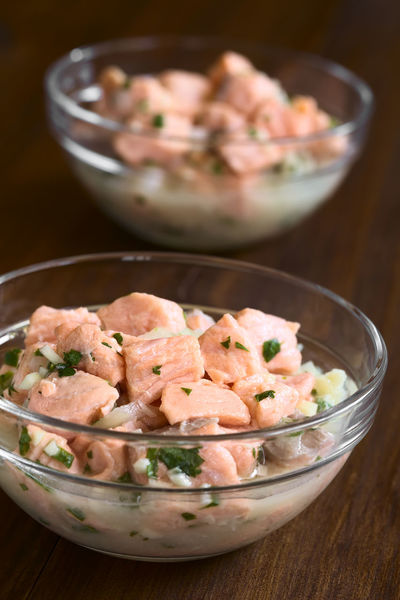 Chilean salmon ceviche prepared with onion, garlic, fresh coriander, salt and lemon juice, photographed with natural light (Selective Focus, Focus in the middle of the first ceviche) Chile Chilean  Homemade Homemade Food Raw Snack South American Food Appetizer Cebiche Ceviche Chilean Food Cilantro Coriander Fish Food Food And Drink Fresh Lemon Lemon Juice Onion Raw Food Refreshing Salmon Seafood Sour