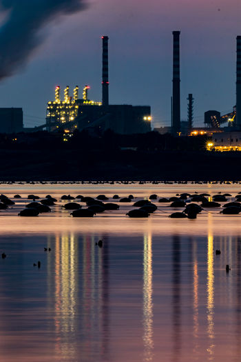 Night photography, long exposure image of the industrial area and the big steel factory in Taranto, Italy with fishing equipment in the front and beautiful water reflections and sunset colors Italy Taranto Night Nightphotography Long Exposure Long Exposure Shot Water Factory Built Structure Building Exterior Sky Reflection Illuminated Waterfront Architecture Smoke Stack Industry No People Nature Outdoors City Building Pollution River Air Pollution Skyscraper