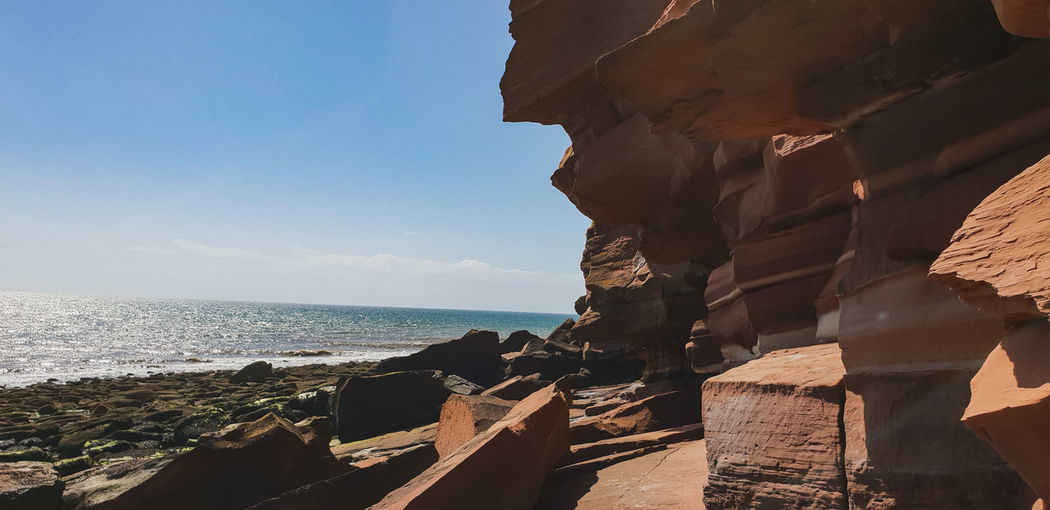 St. Bees EyeEmNewHere Sea Seascape Sea And Sky Coast Coastline Lake District St Bees Sea Water Beach Rock - Object Clear Sky Sky Horizon Over Water Rock Formation Cliff Eroded Rocky Coastline Rock Geology