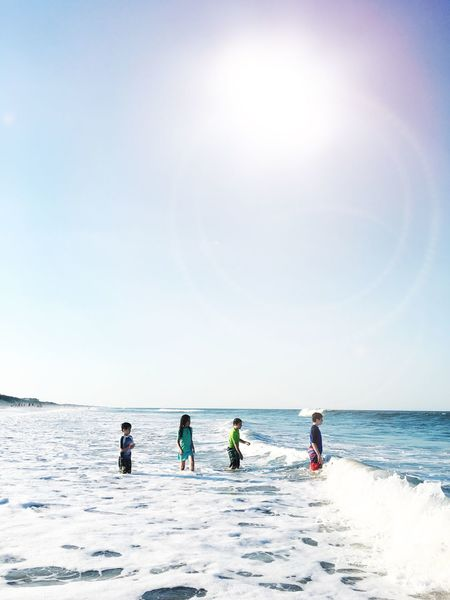 Live For The Story Horizon Over Water Sea Real People Water Sunlight Nature Sky Beauty In Nature Scenics Adventure Leisure Activity Sunny Day Outdoors Vacations Clear Sky Togetherness Full Length Lifestyles Beach Time Happiness Cousins  Siblings