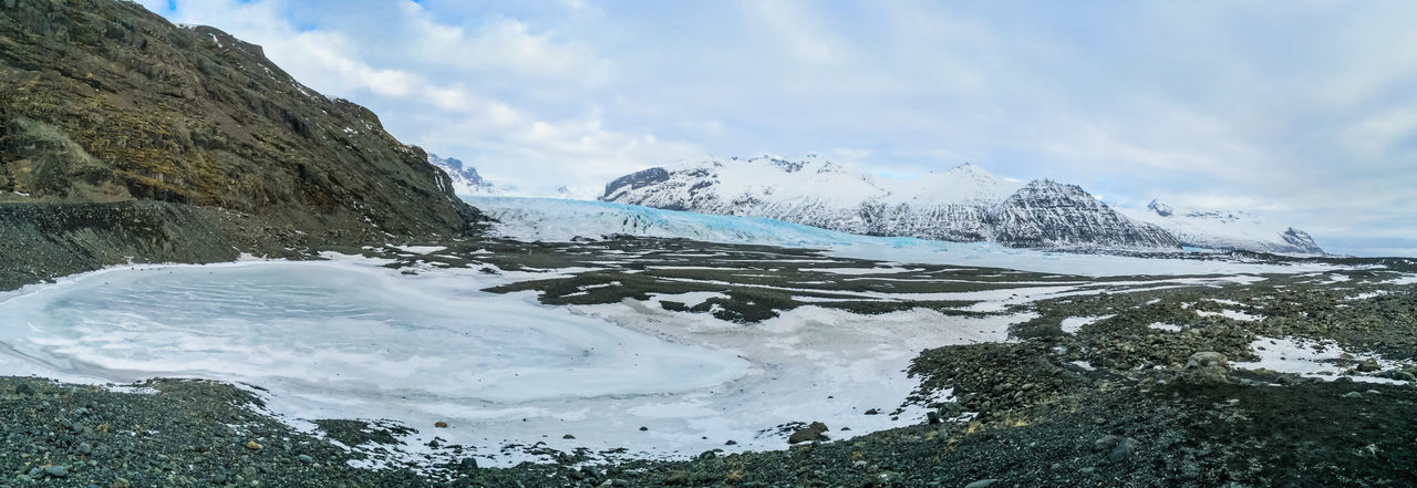 Panoramic shot of skaftafell national park against cloudy sky