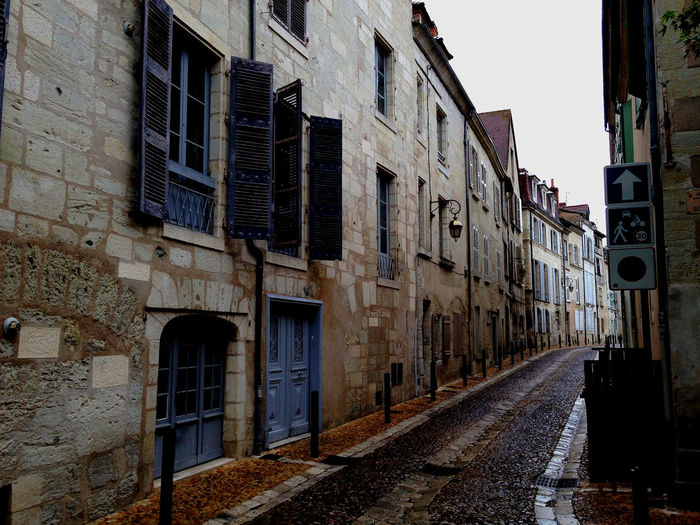 A beautiful street on a rainy dayin the south of France. Architecture Building Building Exterior Diminishing Perspective French Street No People Residential District Residential Structure Southern France Street Typical French Country Village