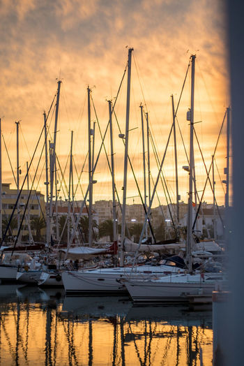 Yacht Mast Sailboat Nautical Vessel Harbor Harbour Port Marina Golden Hour Golden Sky Sunset Reflection Tranquility Moored No People Transportation Portugal Lagos Yachts Safety Calm No Wind Travel Destinations