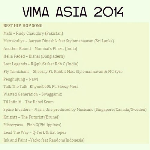 Here's the list of the nominees that will compete fo' the Best Hip-Hop Song in this year's Vima Asia. ViMAAsia2014 BestHipHopSong TalkTheTalk by @provellakapz feat. Sleezy Moss.