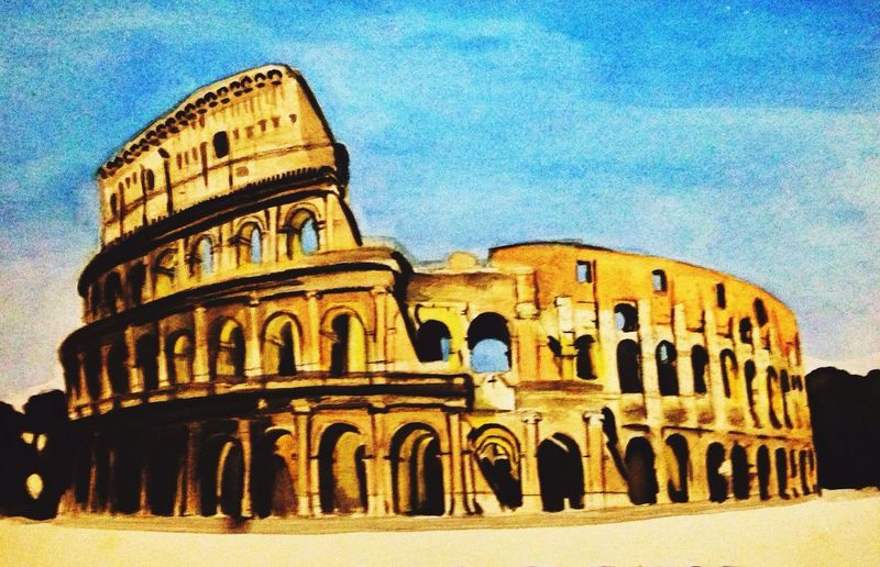 Flavian Amphitheater Rome The Colosseum, Rome Rendering I Miss Painting Art Architecture
