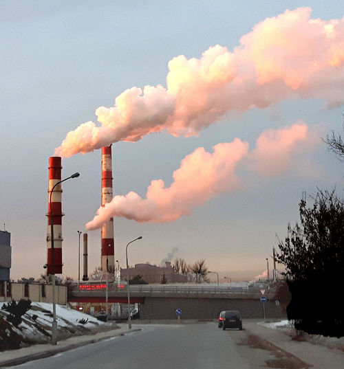 Air Pollution Architecture Building Exterior Built Structure Cloud - Sky Day Emitting Factory Fumes Industry No People Outdoors Road Sky Smoke Stack