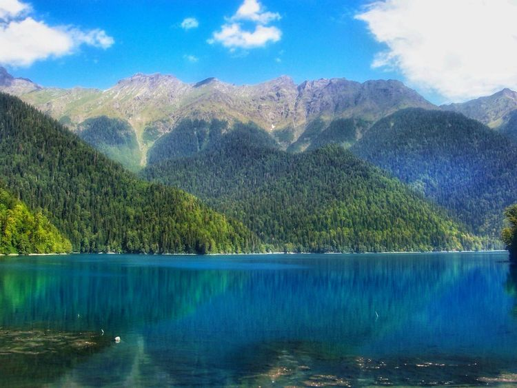 Lake View Lake Riza Abhazia Caucasus Caucasian Mountains Mountain Mountain View Mountain Lake Water Reflections