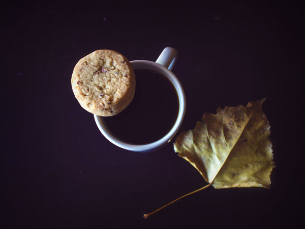More coffee! Food And Drink Food Black Background No People Coffee - Drink Mug Tea - Hot Drink Leaf Fall Autumn Close-up Table
