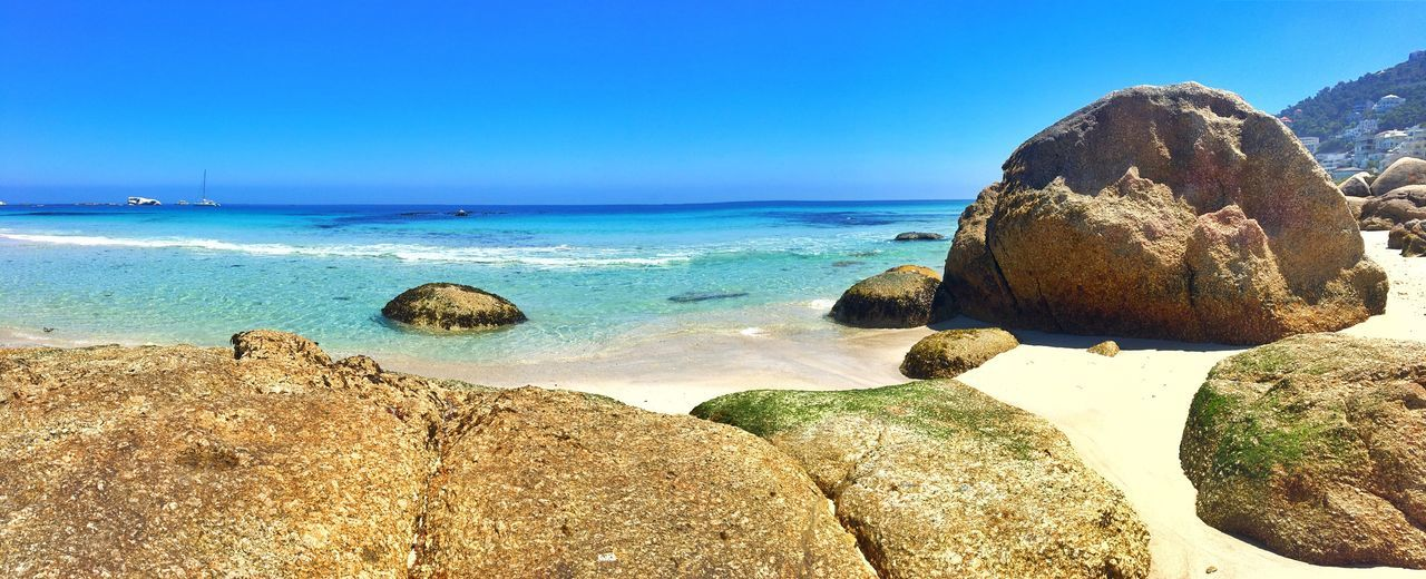 Beach vibes... Outdoors Sun Sea Rock - Object Beach Horizon Over Water Blue Nature Clear Sky Water Scenics Tranquility Tranquil Scene Idyllic Beauty In Nature Day No People Sky