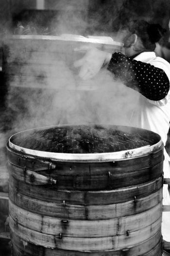 Cooking Dumplings Shanghai China Bamboo Steam Woman Nikon Blackandwhite Streetphotography