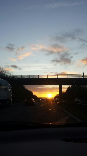 Sunset Bridge - Man Made Structure Cloud - Sky Transportation Devon UK M5