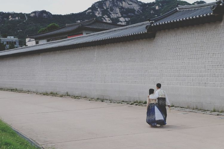 walk with me.. Full Length Architecture Two People History Built Structure Day Men Togetherness Outdoors Adult Real People People Sky Adults Only EyeEm Best Shots Candid Couple - Relationship Couple Korean Traditional Architecture Korean Korean Couple
