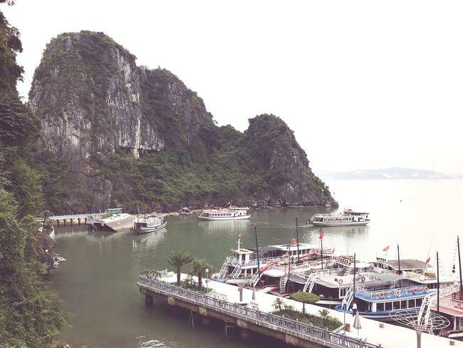 Halong Bay Vietnam Nautical Vessel Moored Transportation Water Mode Of Transport Mountain Boat First Eyeem Photo