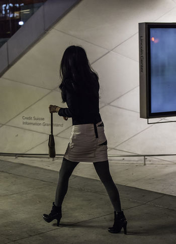 Backlit Candid Full Length High Heels Miniskirt Nightphotography Rear View Streetphotography Walking