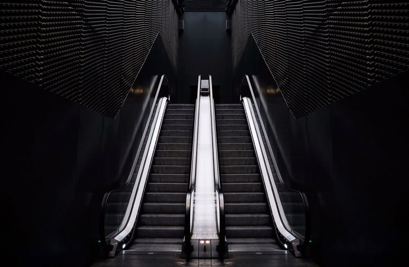 - UP, PLEASE - The Architect - 2018 EyeEm Awards Check This Out Symmetrical Symetry Artsy Building Garage Black Escalators Escalator Built Structure Architecture Indoors  Low Angle View No People Modern Illuminated Day The Architect - 2018 EyeEm Awards