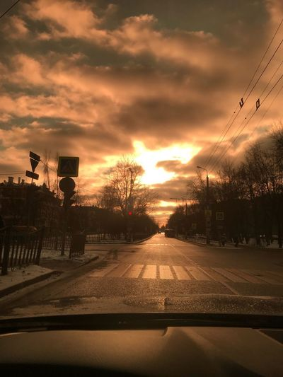 Through sunglases Vehicle Interior Transportation Windshield Car Interior Sunset Cloud - Sky No People Outdoors