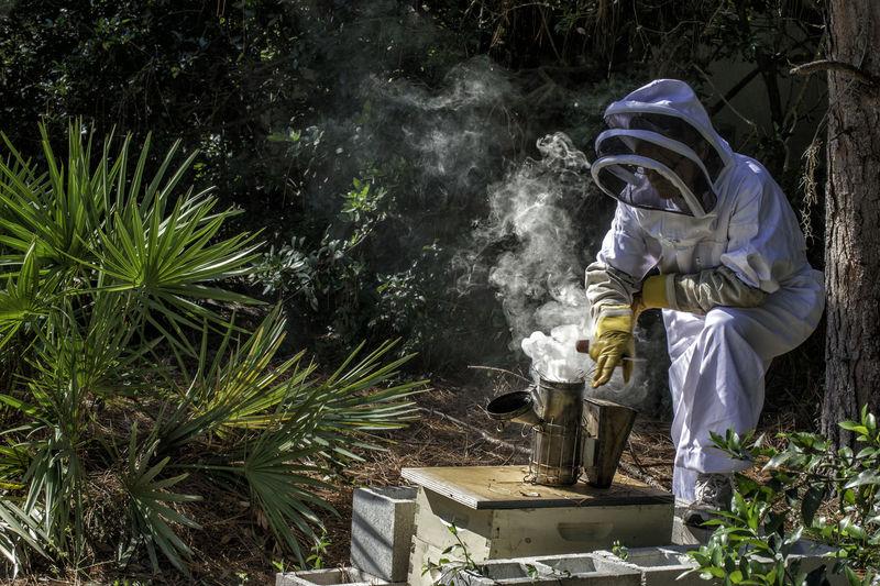 Woman Working Amdist Smoke By Plants