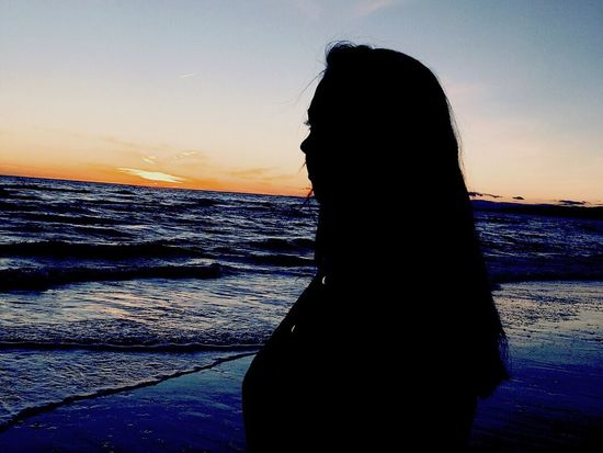 Sea Beach Silhouette One Person Nature Sky Lifestyles First Eyeem Photo