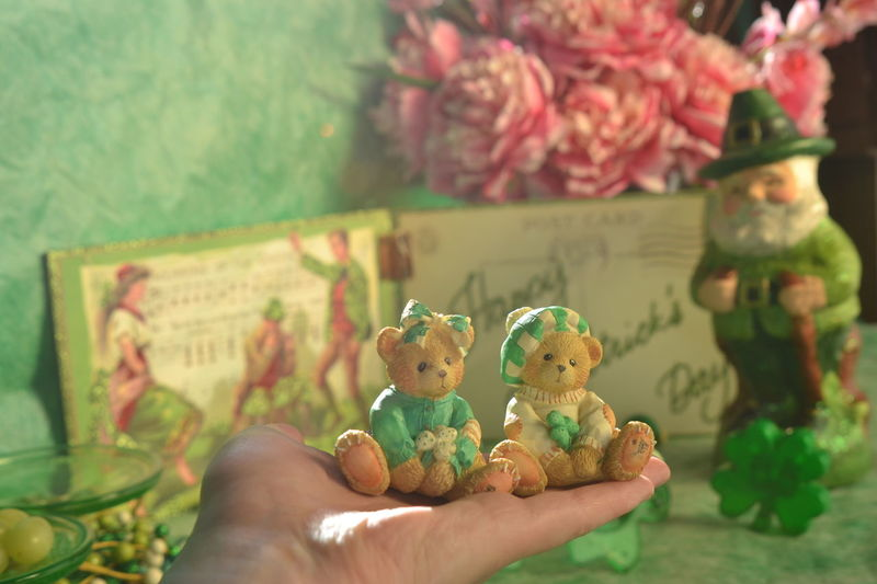 St. PATRICK'S DAY CELEBRATION Accent Bears Celebration Daylight Decoration Decorations Decorative Figurine  Flowers Friend Green Hand Holding Happy Happy St. Patricks Day Lifestyles Light Lush Foliage March Money Pink Color Plate Postcard Season  Setting St. Patrick