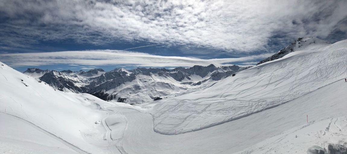 pure Arosa Mountain Peak Slopes Mountains No People Sun Cold Temperature Winter Snow Mountain Cloud - Sky Snowcapped Mountain Sky