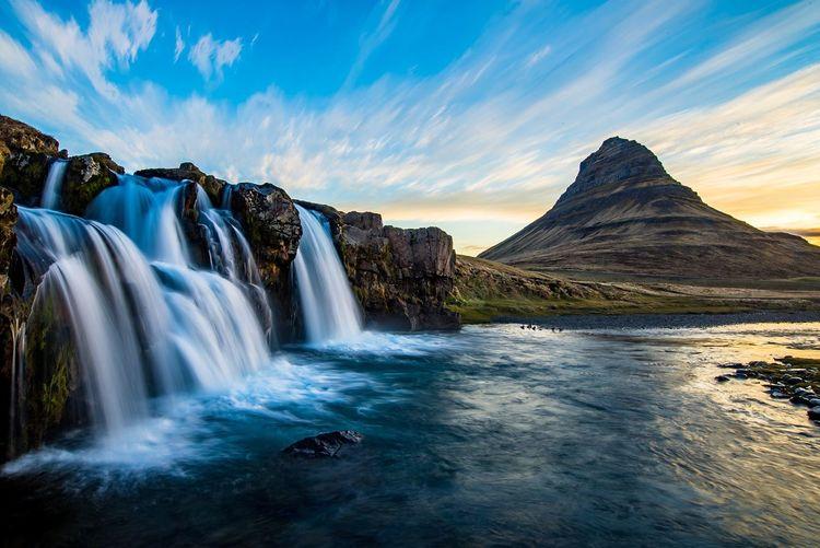 Waterfalls at kirkjufell