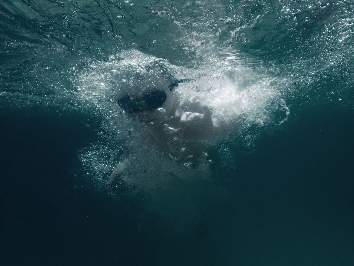 Close-up of person underwater