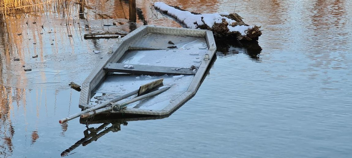 High angle view of a boat in a lake