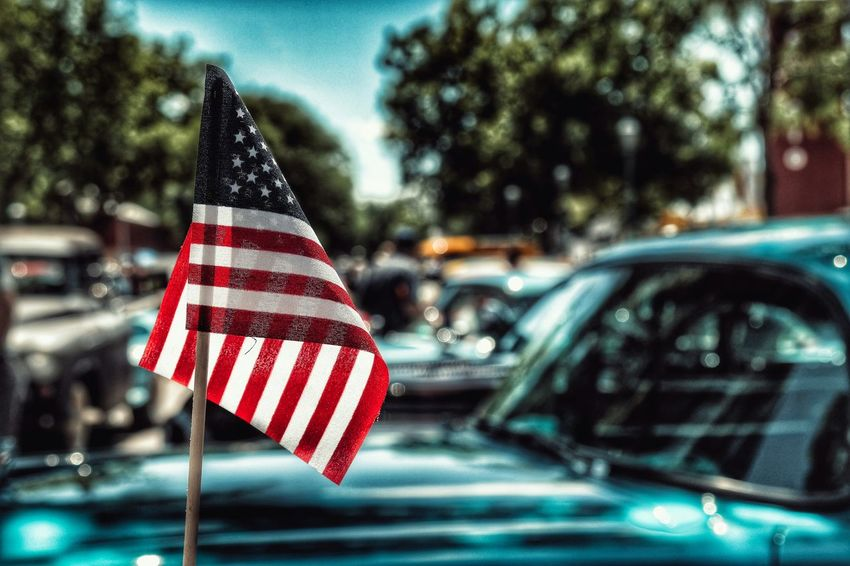 Merica Car Show Hot Rods Cars Sunday Flag American Flag Hdr_Collection HDR America