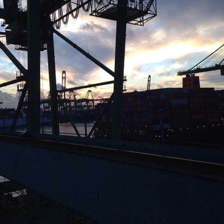 No Filter Crane Good Morning Iphone5C Brani Terminal Sky Beautiful Scenery Working Night Shift Container