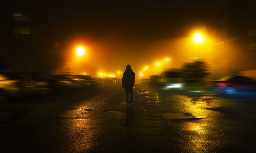 Fog Night Misty Night Lights Night Street Nightphotography Red Adult Darkness And Light Fog Full Length Illuminated Mistery Night One Person Outdoors People Streetphotography Trend