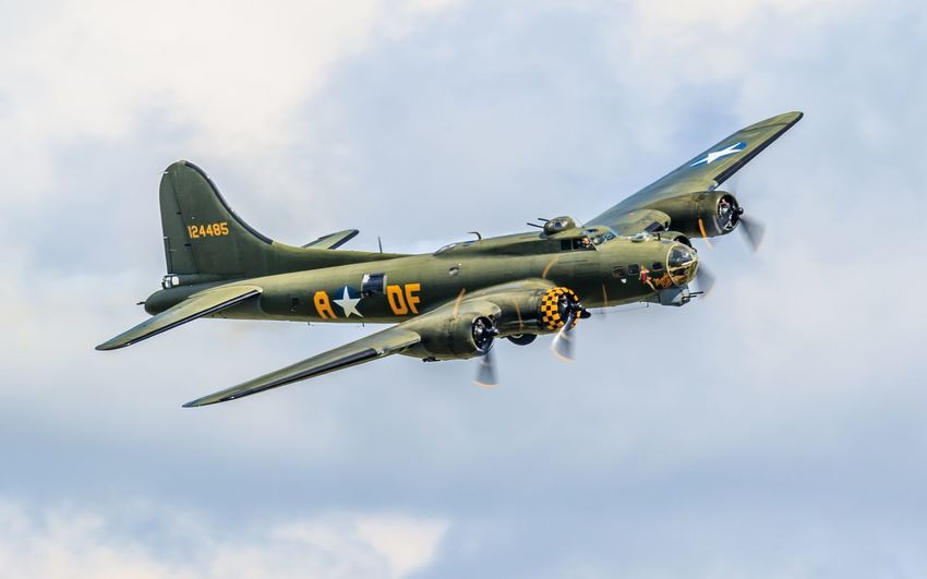 Sally B-17 Flying Sky Low Angle View Air Vehicle Airshow Speed Airplane Military Military Airplane Transportation Air Force