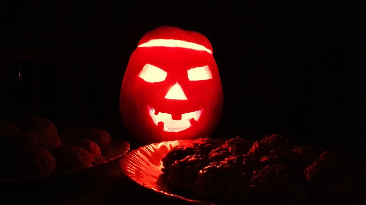 halloween, pumpkin, celebration, illuminated, night, no people, black background, holiday - event, spooky, indoors, close-up, anthropomorphic face, jack o lantern