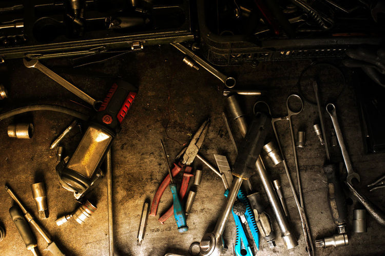 Abundance Auto Repair Shop Choice Close-up Equipment Garage Hand Tool High Angle View Indoors  Large Group Of Objects Man Made Man Made Object Mechanic Metal No People Screwdriver Spanner Still Life Tool Variation Work Tool Workshop Wrench