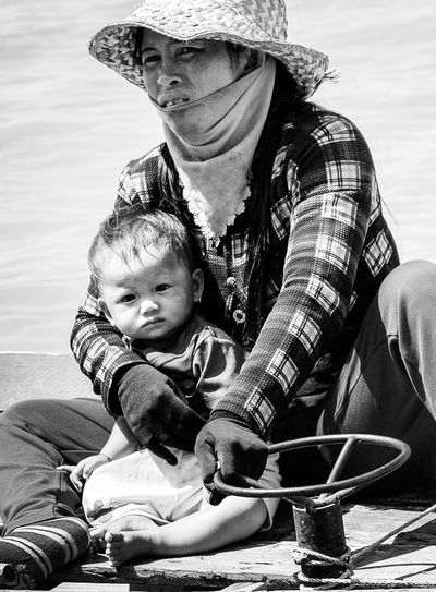Black & White Blackandwhite Boatpeople Cambodia Tonle Sap Lake Child Childhood Family Baby Togetherness Family With One Child Real People Love Bonding Lifestyles Babyhood International Women's Day 2019 Moms & Dads