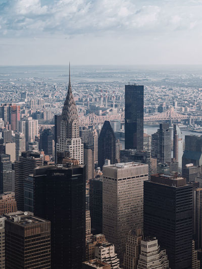 Aerial view of new york skyline with chrysler building