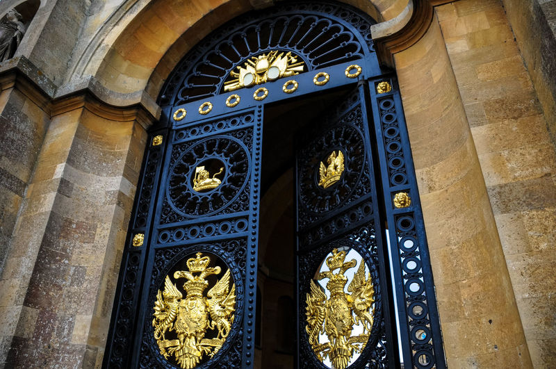 Arch Architectural Feature Architecture Beauty Built Structure Contrast Crest Door Emblem  England Enter Estate Gate Gold Intricate Iron Metalwork No People Open Open Door Rod Iron Stone Stone Material Travel Travel Destinations
