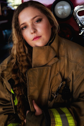 Daughter Emergency Services Female Model Firewomen Front View Person Portrait Teen