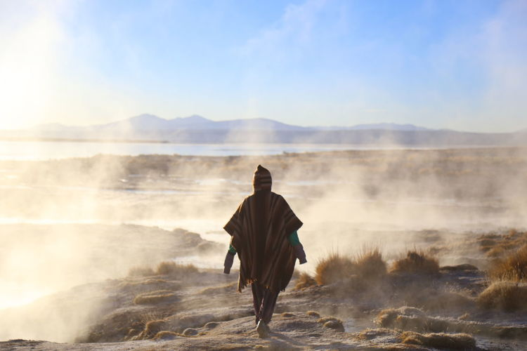 Sunrise Bolivia Uyuni Hotspring Politics And Government Adventure Fog Mountain Men Rear View Full Length Challenge Sky Desert