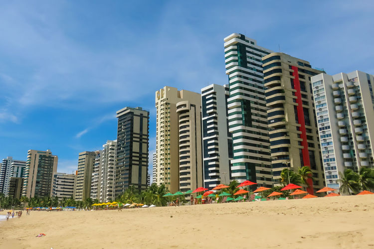 View of the beach of Piedade-Brazil Architecture Beach Building Exterior Built Structure City Cloud - Sky Day Modern No People Outdoors Sand Sky Skyscraper Urban Skyline