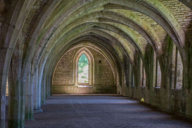 Norman arched corridor Ancient Normandie Arch Architecture Ceiling Dingy Gothic Style Indoors  Place Of Worship Religion The Past