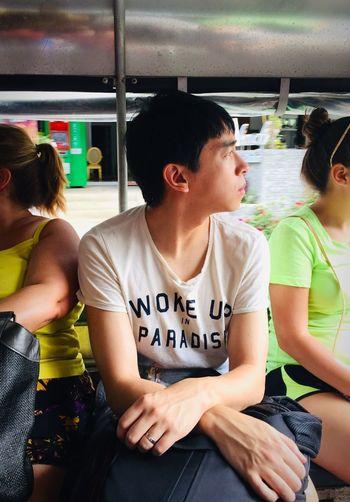Looking Away Traveling Taking Bus Sitting People Emotion