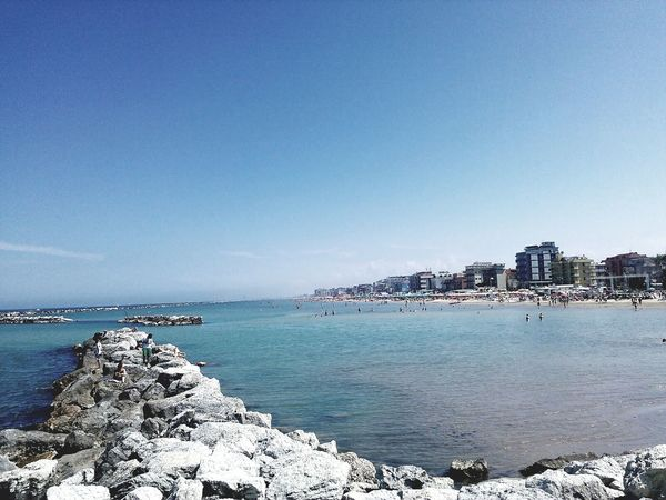 Sea Water Beach Horizon Over Water Sunny Clear Sky Sand Sky Nature Vacations Travel Destinations Blue Tranquility Scenics Bellariaigemarina Rimini Italy Day Community The Great Outdoors - 2017 EyeEm Awards The Purist (no Edit, No Filter) No Filter, No Edit, Just Photography