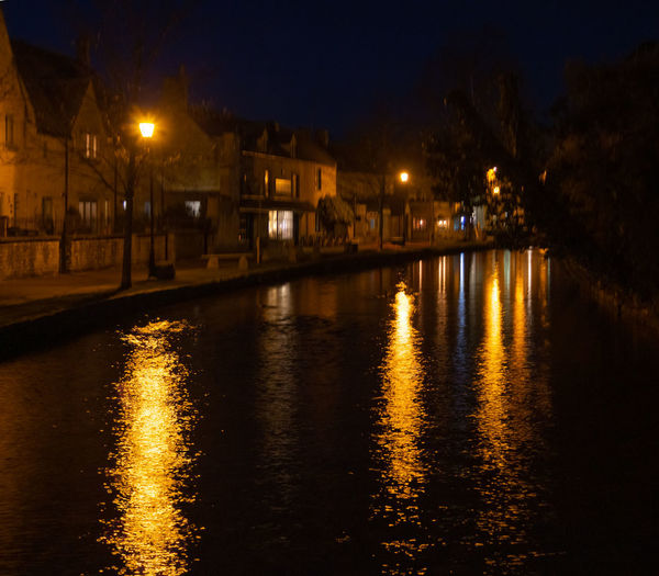 Night Water Reflection Illuminated Street Light River Outdoors Yellow Color HDR