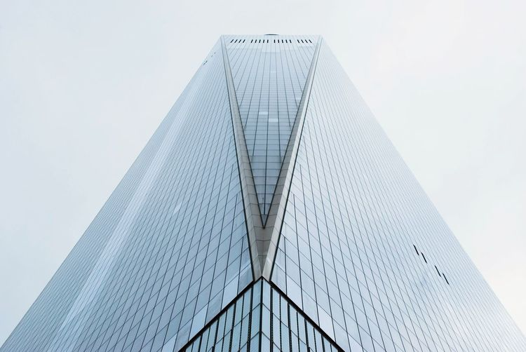 Architecture Built Structure Modern Low Angle View Building Exterior Day No People Outdoors Skyscraper New York City Manhattan One World Trade Center Façade Clear Sky Sky City