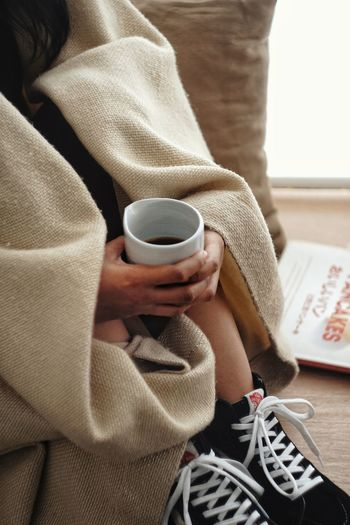 warm Warm Coffee Cup Coffee Blankets Human Body Part Sitting Adult Adults Only One Woman Only Only Women One Person Indoors  Close-up