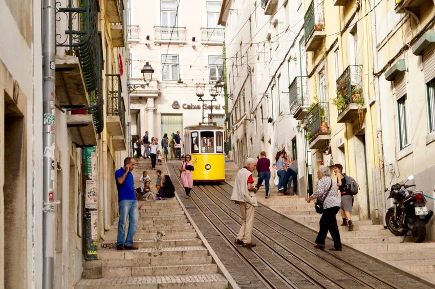 Adult Adults Only Architecture Building Exterior Built Structure Cable Car City City Life Day Full Length Group Of People Lisbon Men Outdoors People Real People Small Street Steep Street Streetphotography The Way Forward Transportation Walking Women