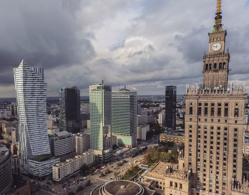 Palace Of Culture Downtown From Above  View From Above Passion Urban Drone  Dji Phantom 4 Warsaw Poland